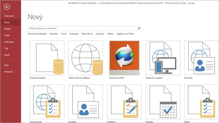 Snímek obrazovky sdatabázovou šablonou aplikace