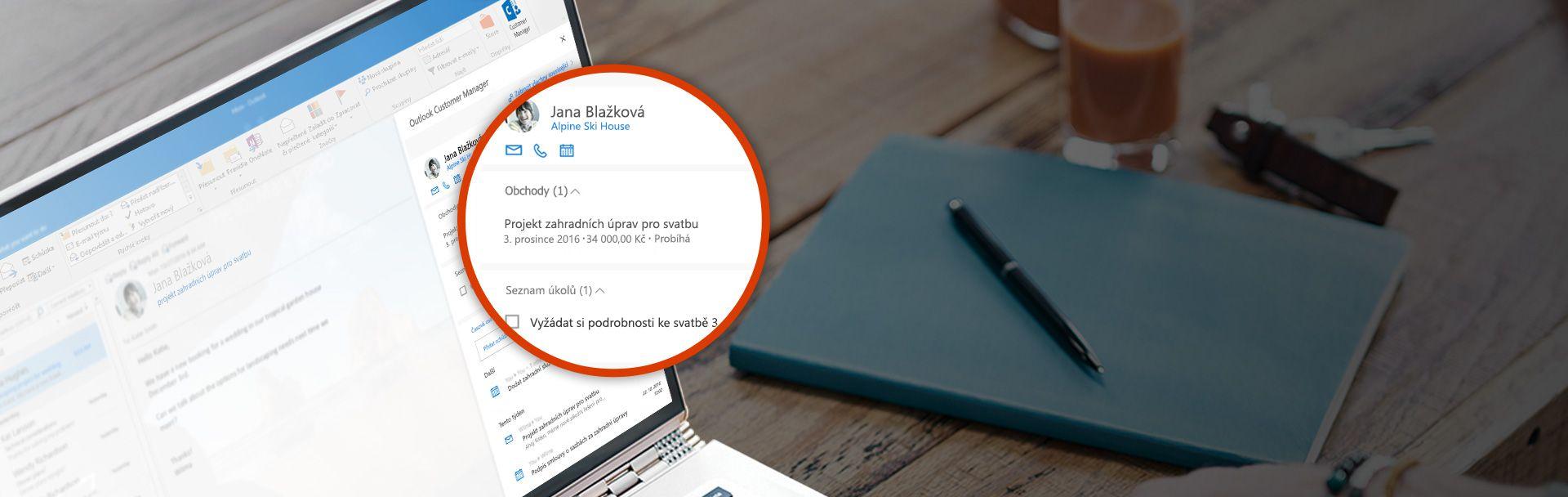 Snímek obrazovky se zvětšenými informacemi ozákaznících