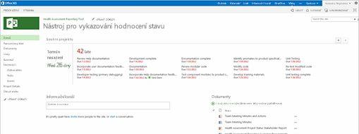 Obrazovka Microsoft Projectu
