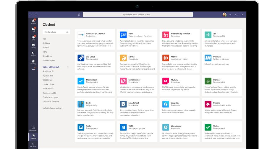 Microsoft App Store zobrazený v Teams