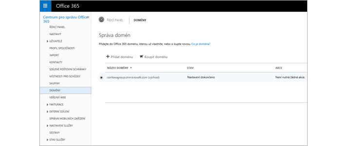 Detail stránky Centra pro správu Office 365, které slouží ke správě Exchange Online Protection.