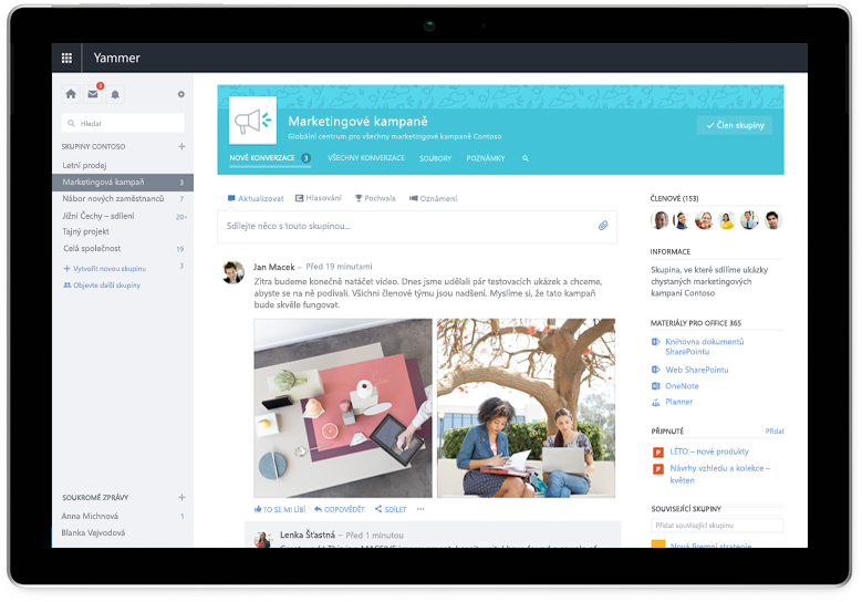 Tablet Surface zobrazující konverzaci v Yammeru, vyžaduje aktualizované snímky obrazovky s nejnovějším uživatelským rozhraním (může se jednat o stejné konverzace)
