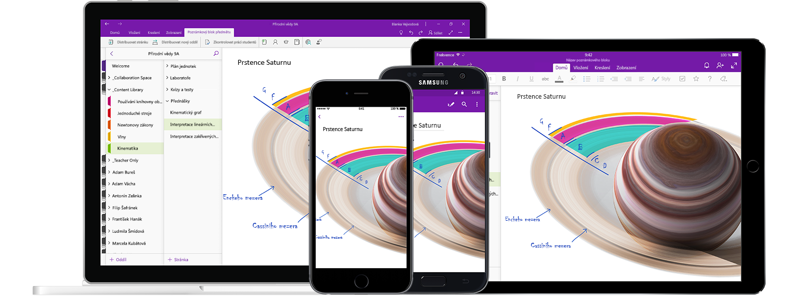 Poznámkový blok OneNote s názvem Physical Science 9A na dvou smartphonech a dvou tabletech zobrazující hodinu o grafech lineárních funkcí