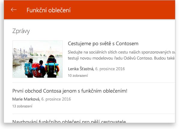 Skupinová konverzace v SharePointu na tabletu