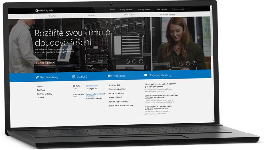 Přenosný počítač s webovou stránkou na obrazovce, informace o SharePoint Serveru 2016 na Microsoft TechNetu