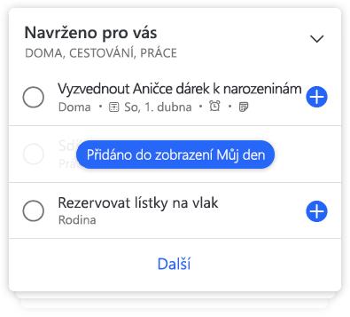 Detaily seznamu v aplikaci To-Do s návrhy úkolů