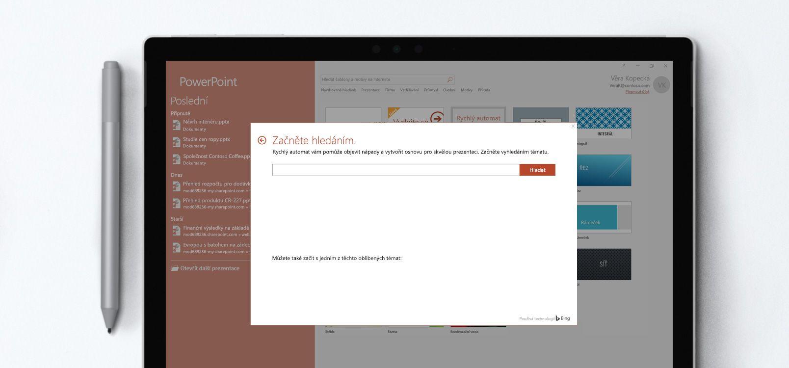 Obrazovka tabletu s powerpointovou prezentací využívající funkci Rychlý automat