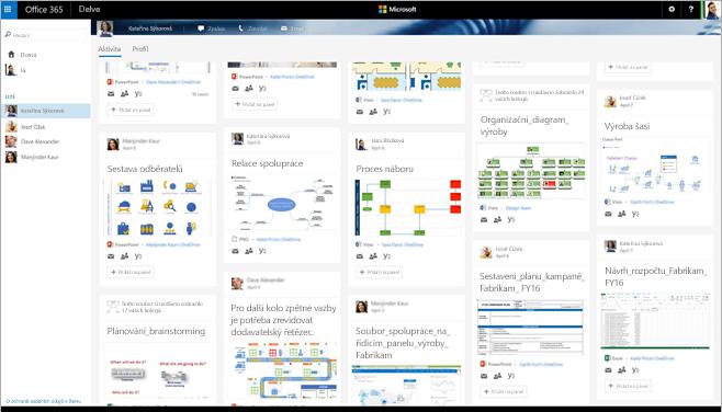 Snímek obrazovky galerie diagramů Visia v Delvu v Office 365