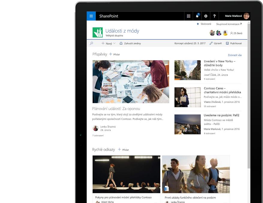 Tablet zobrazující sharepointové novinky a aktivity