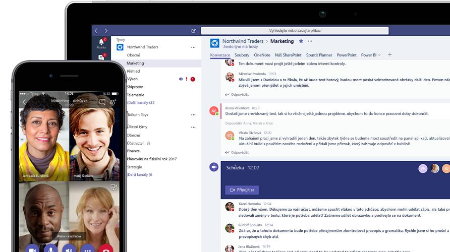 Hovor v Microsoft Teams zobrazený na mobilním telefonu a tabletu