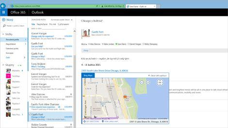 Detail složky doručené pošty uživatele v Outlook Web Appu, založené na Exchange.