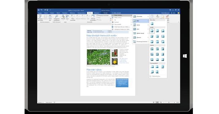Surface, na kterém se zobrazuje nová funkce Řekněte mi ve wordovém dokumentu