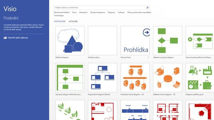 Obrazovka Visia snaposledy otevřenými soubory avybranými šablonami Visia