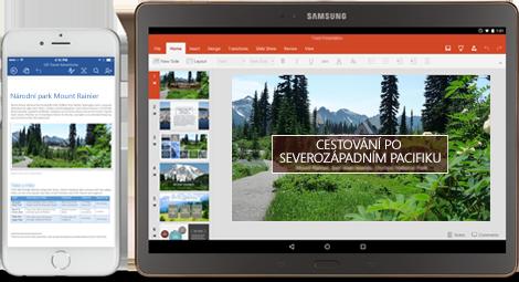 Office se přesouvá s vámi: Telefon s dokumentem Wordu, který se upravuje, a tablet s powerpointovými snímky, které se upravují