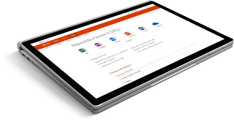 Přenosný počítač s webovou stránkou podpory Office
