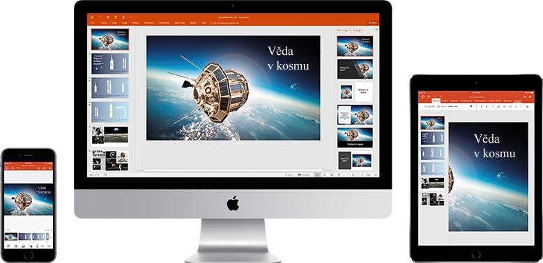 iPhone, monitor Macu a iPad zobrazující prezentaci o Vědě ve vesmíru, získejte více informací o mobilních funkcích v Office