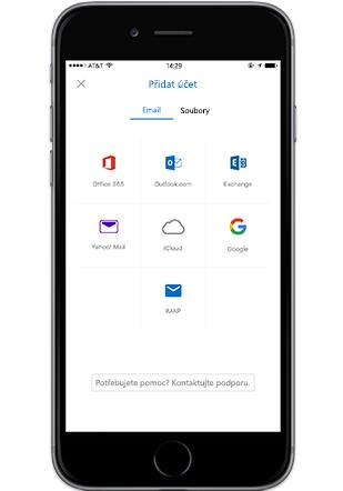 Smartphone zobrazující obrazovku pro přidání účtu v mobilní aplikaci Outlook
