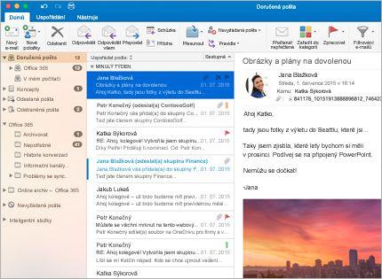 Snímek složky doručené pošty v Microsoft Outlooku 2013 se seznamem zpráv a náhledem