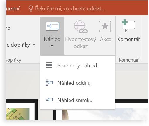 Tablet se snímkem PowerPointu s použitím lupy