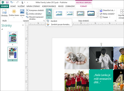 Snímek obrazovky publikace Publisheru s nástroji pro práci s obrázky na pásu karet