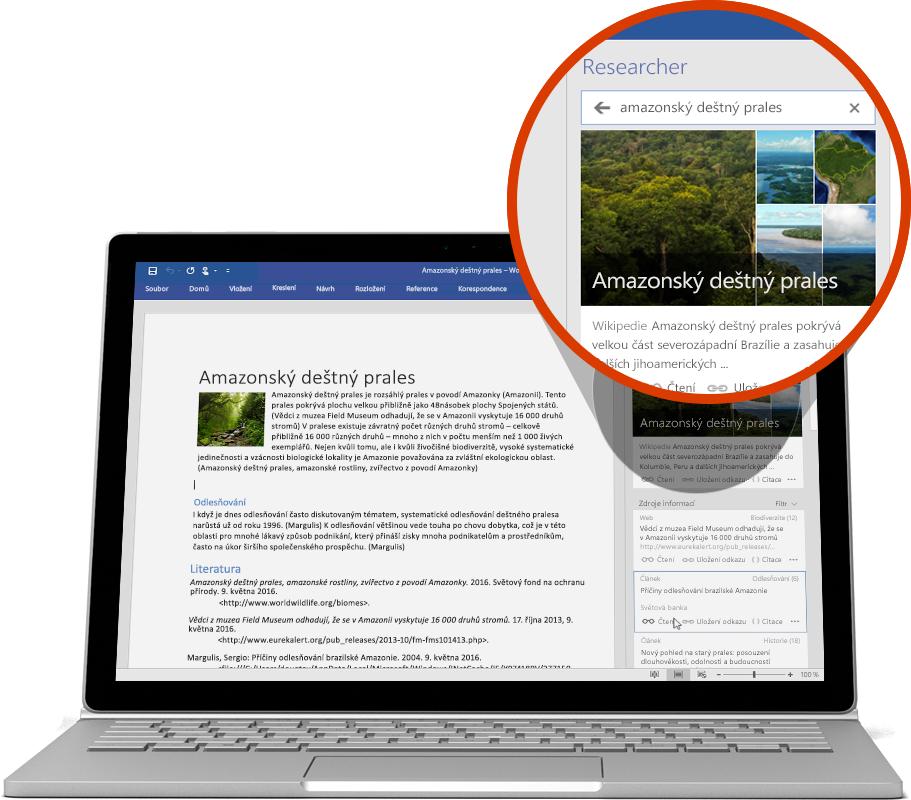 Notebook s funkcí Researcher použitou ve wordovém dokumentu, další informace o funkcích Wordu