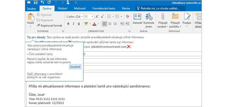 Detail e-mailové zprávy s upozorněním na možný únik citlivých informací, které má předejít odeslání citlivých informací