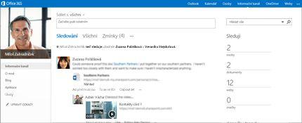 Obrazovka informačního kanálu SharePointu se zobrazenou funkcí sdílení se všemi