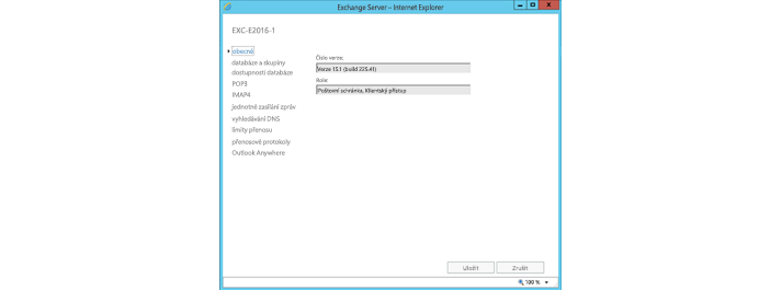 Okno v Internet Exploreru sobecným nastavením Exchange Serveru