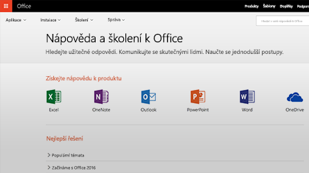 Snímek obrazovky s nápovědou a školeními v Office 365