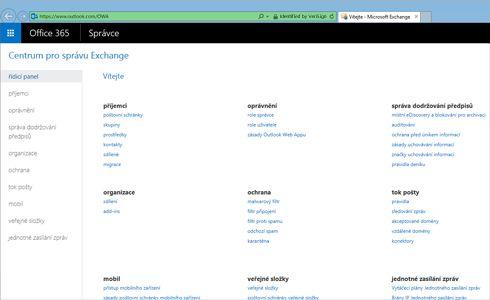 Detail stránky s náhledem výsledků hledání v Exchangi Online