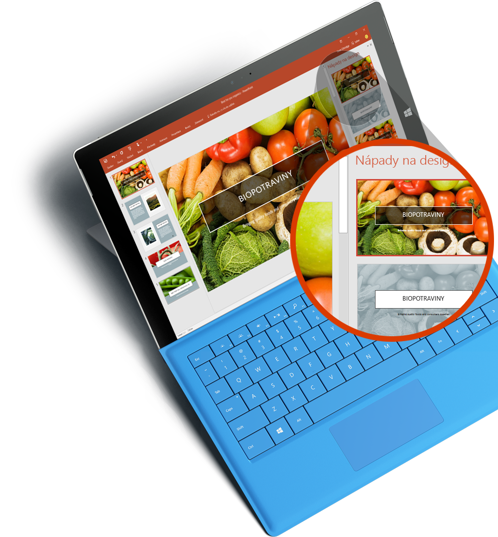 Tablet Surface spřiblíženou obrazovkou, na které je PowerPoint Designer