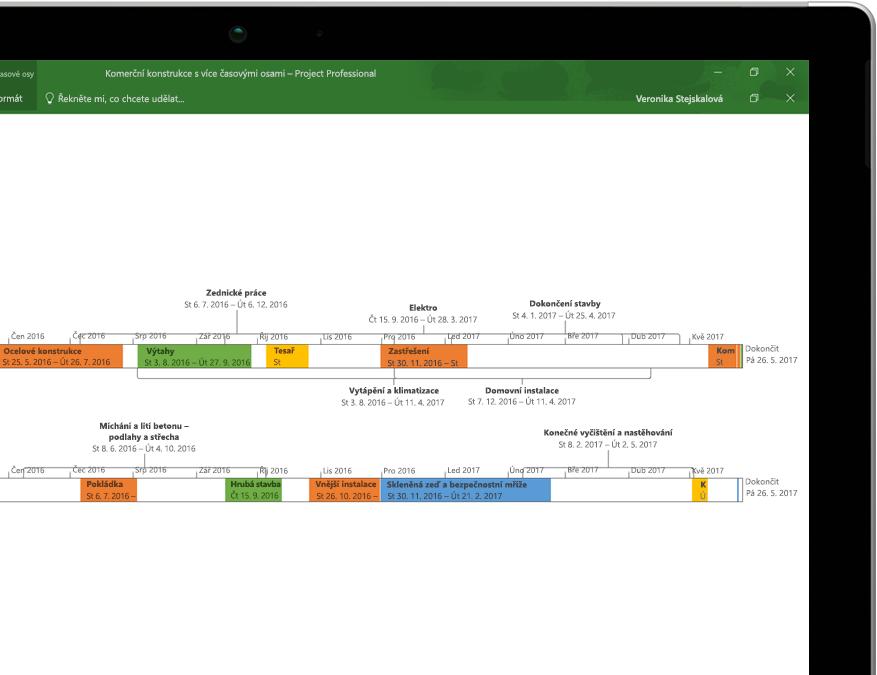 Zařízení s otevřeným souborem Projectu zobrazujícím souhrnnou časovou osu projektu