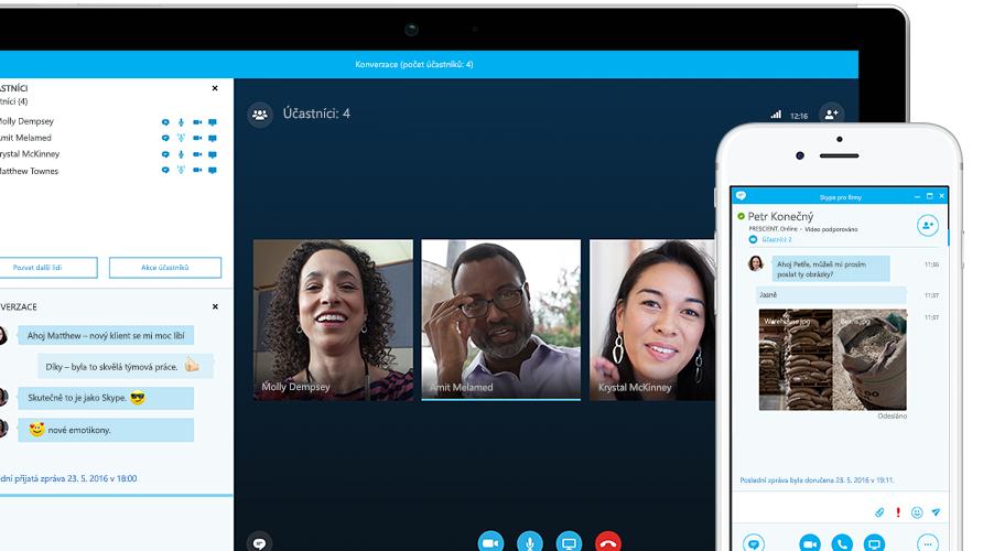 Tablet Surface s online schůzkou ve Skypu pro firmy na obrazovce