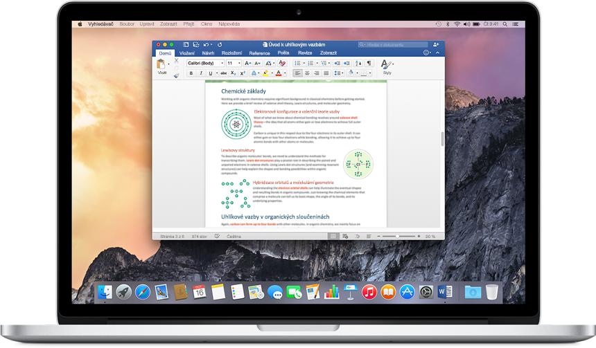 MacBook s wordovým dokumentem otevřeným na domovské obrazovce. Získejte další informace o aplikacích a funkcích Office pro Mac.