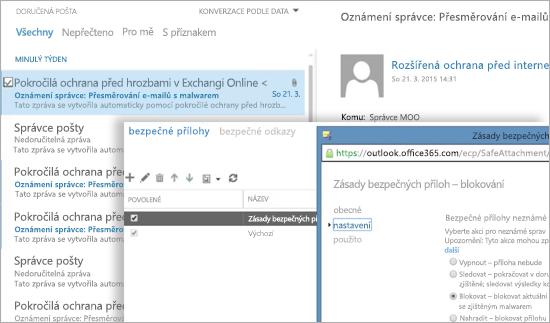 Snímek obrazovky s e-mailem oznámení správci a oknem zásady bezpečných příloh.