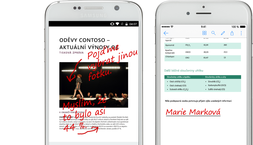Dva smartphony s dokumenty a ručně psanými poznámkami