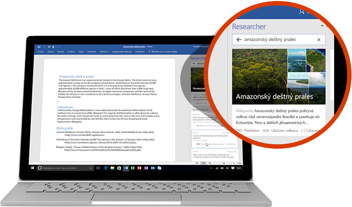 Notebook s wordovým dokumentem a přiblíženou funkcí Researcher s článkem o amazonském dešťovém pralese.