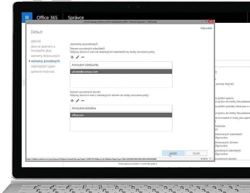 Tablet zobrazující úpravy antispamových zásad v konzoli pro správu Office 365 s povoleným odesílatelem a doménou