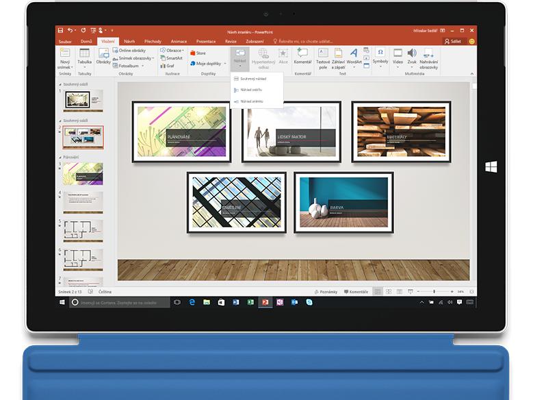Přiblížení v PowerPointu na přenosném počítači