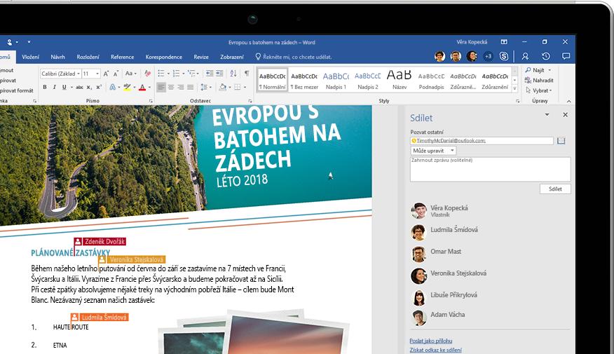 Přenosný počítač zobrazující stránku Sdílet ve Wordu