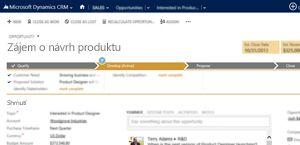 Obrázek stránky s prodejní příležitostí v Microsoft Dynamics CRM Online.