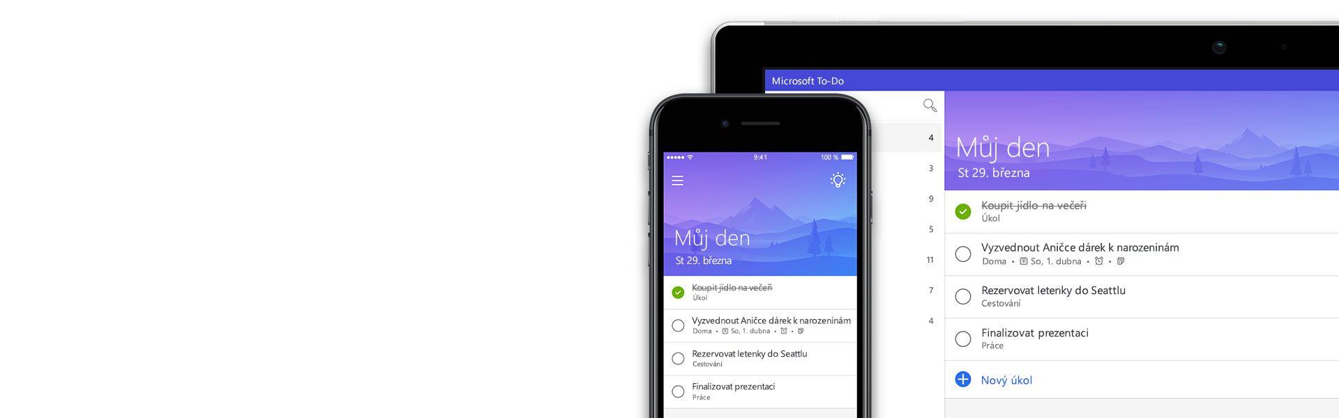 Smartphone a tablet se stejným seznamem úkolů v aplikaci To-Do