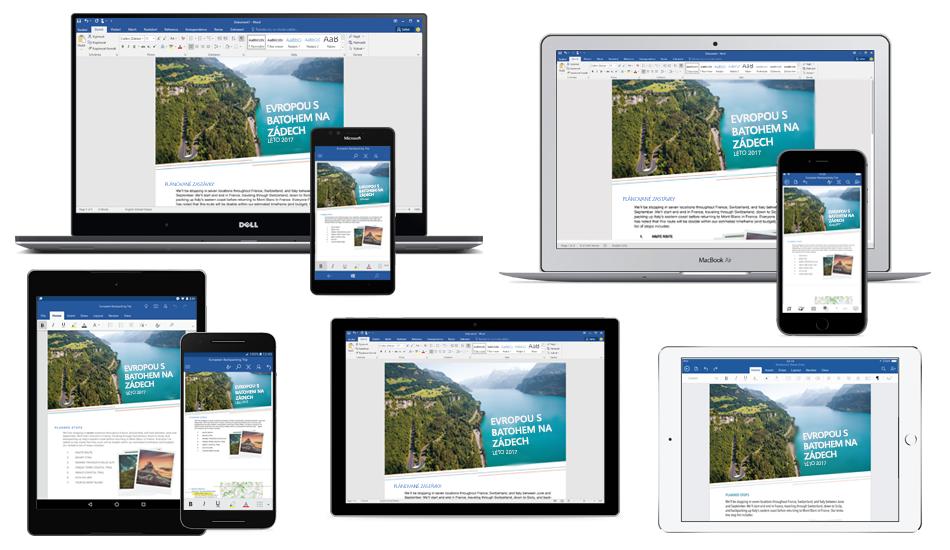 Wordový dokument o cestě s batohem po Evropě zobrazený na několika noteboocích, tabletech a telefonech, informace obezplatných mobilních aplikacích Office