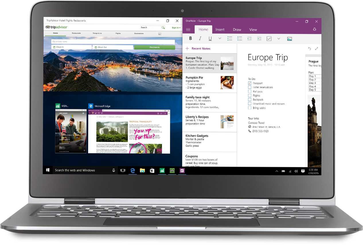 Notebook se třemi připnutými aplikacemi