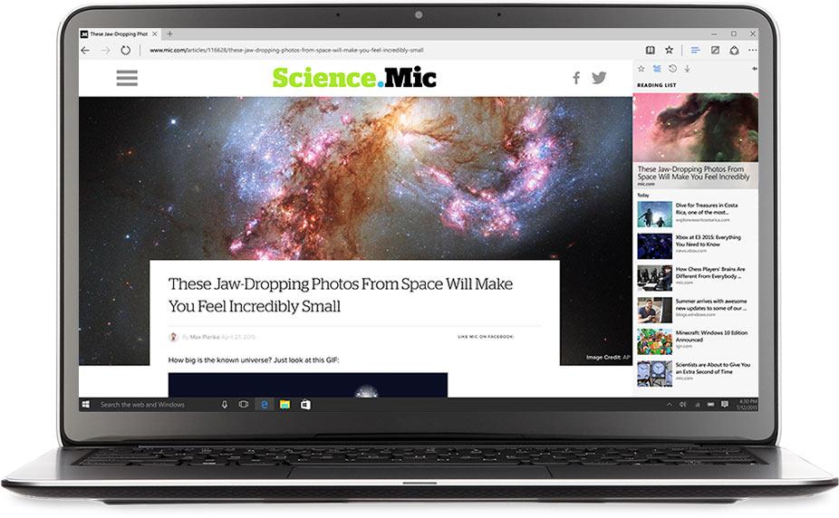 Notebook s prohlížečem Microsoft Edge
