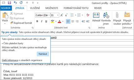 Detail upozornění na možný únik citlivých informací v e-mailu, které má předejít odeslání citlivých informací