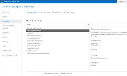 Snímek obrazovky se stránkou oprávnění v Centru pro správu Exchange, která slouží ke správě rolí správce