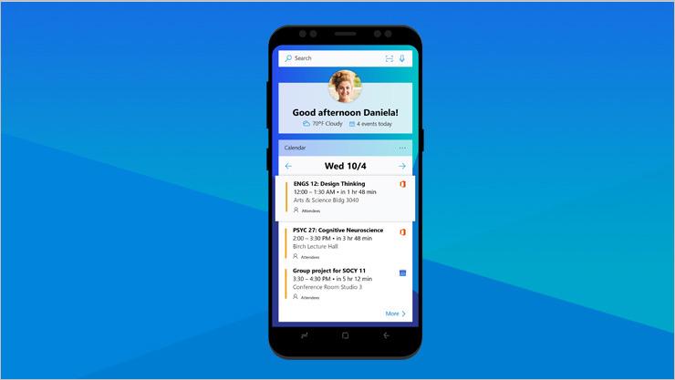 Android-telefon, der viser en Office-skærm