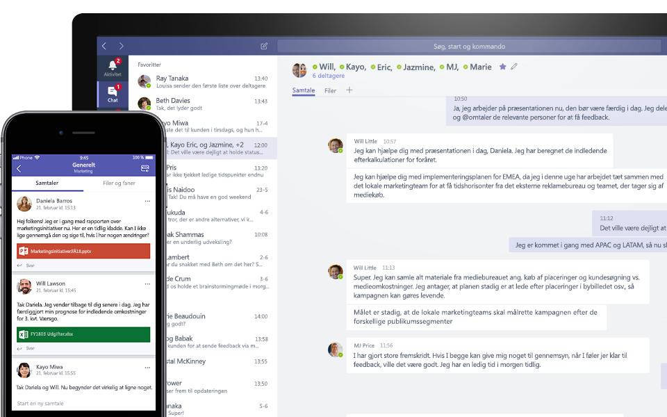 Teams-samtale på en mobil- og en skrivebordsenhed