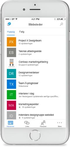 Skærmbillede af SharePoint på en mobilenhed.